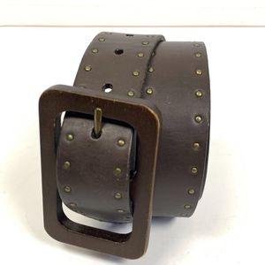 Talbots Women's size S Brown Leather Wooden Buckle